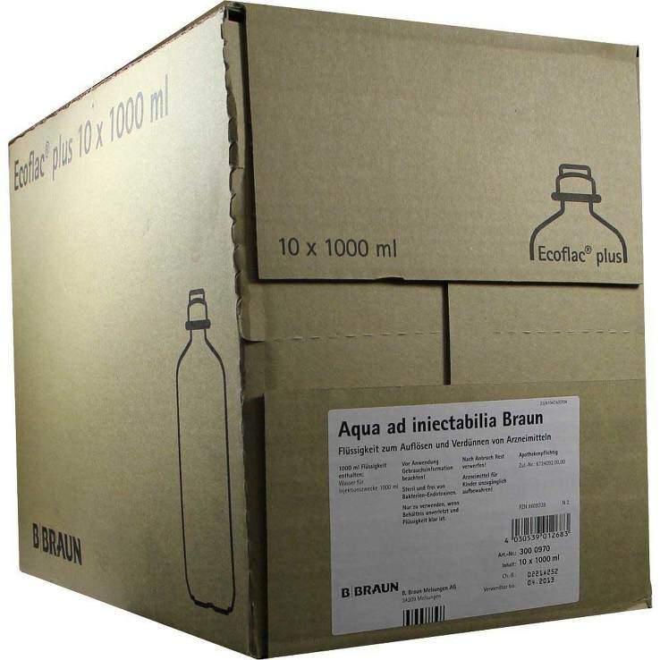 Aqua ad iniectabilia Braun Lösungsmittel zur Herstellung von Parenteralia, 10x1000 ml Ecoflac plus