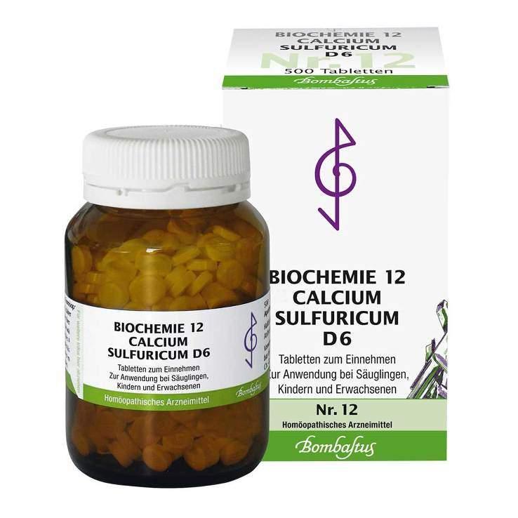 Biochemie 12 Calcium sulfuricum Bombastus D6 500 Tbl.