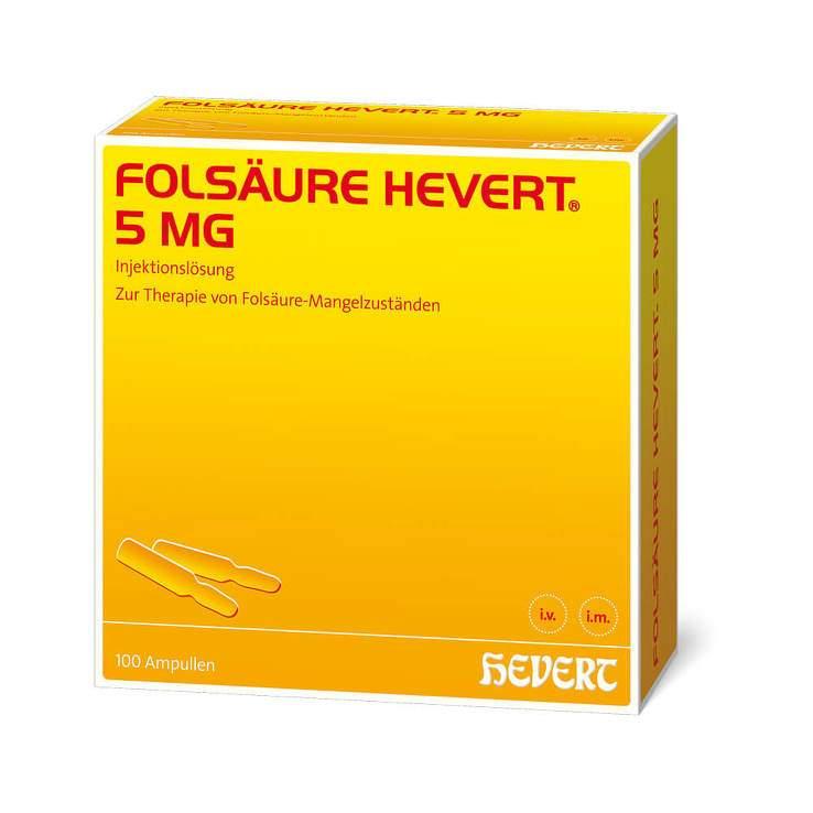 Folsäure Hevert 5 mg Injektionslösung 100 Amp.