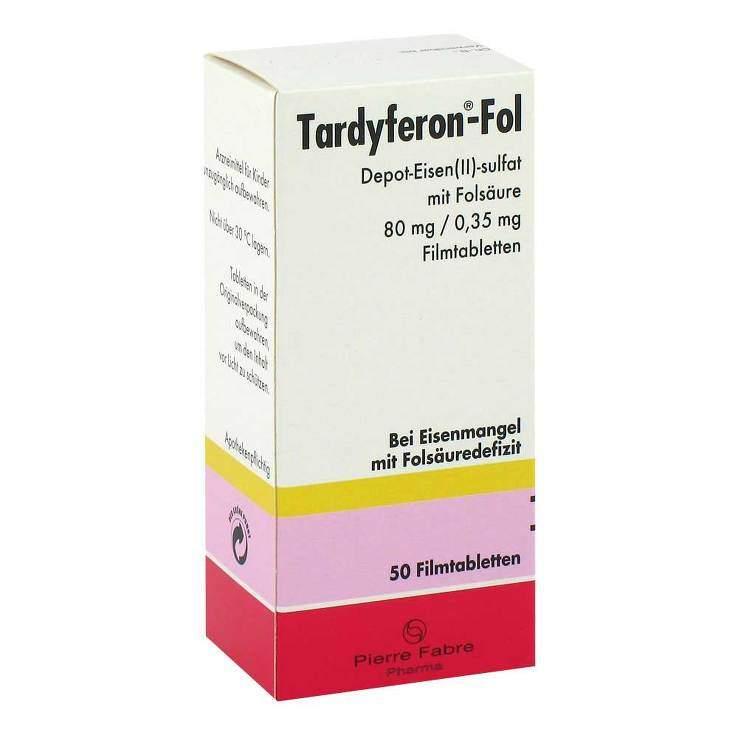 Tardyferon®-Fol Depot-Eisen(II)-sulfat mit Folsäure 80 mg/0,35 mg 50 Filmtabletten