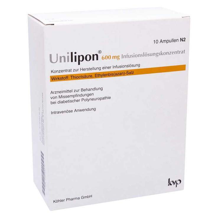 Unilipon 600 mg Infusionslösungskonz. 10Amp.