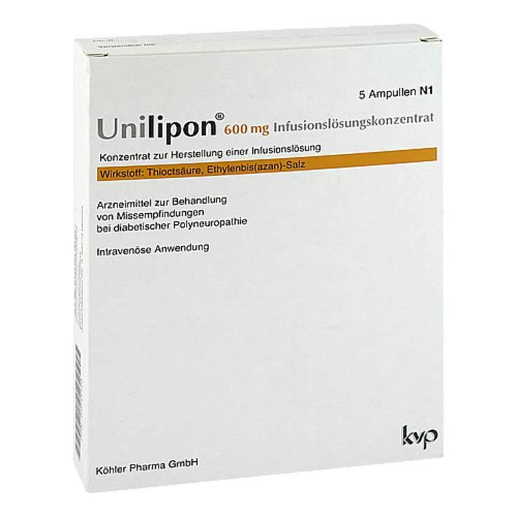 Unilipon 600mg Infusionslösungskonz. 5 Amp.