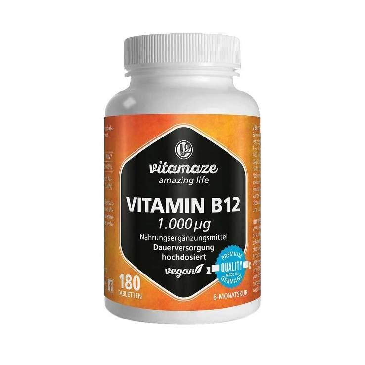 Vitamin B12 1.000 µg hochdosiert vegan 180 Tbl.