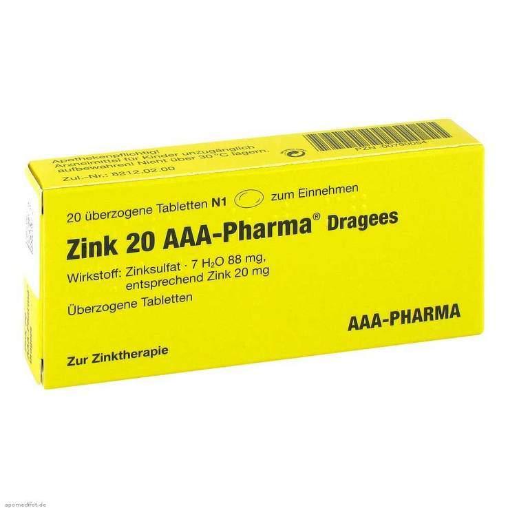 Zink 20 AAA-Pharma® Dragees, 20 überzog. Tbl.