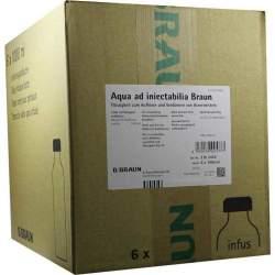 Aqua ad iniectabilia Braun Lösungsmittel zur Herstellung von Parenteralia, 6x 1000 ml Glas-Fl.