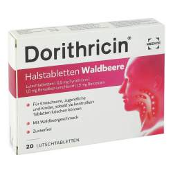 Dorithricin Halstabletten Waldbeere, 0,5 mg/1,0 mg/1,5 mg, 20 Lutschtbl.