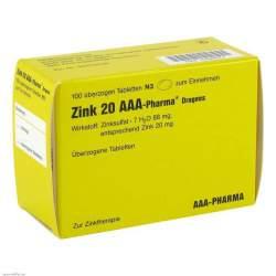 Zink 20 AAA-Pharma® Dragees, 100 überzog. Tbl.