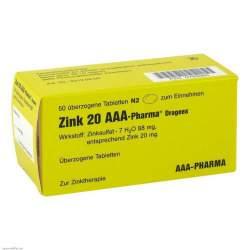 Zink 20 AAA-Pharma® Dragees, 50 überzog. Tbl.